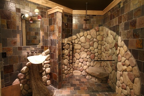 17 Best Images About Master Bath River Rock Shower On Pinterest Copper Wall Shower Walls And