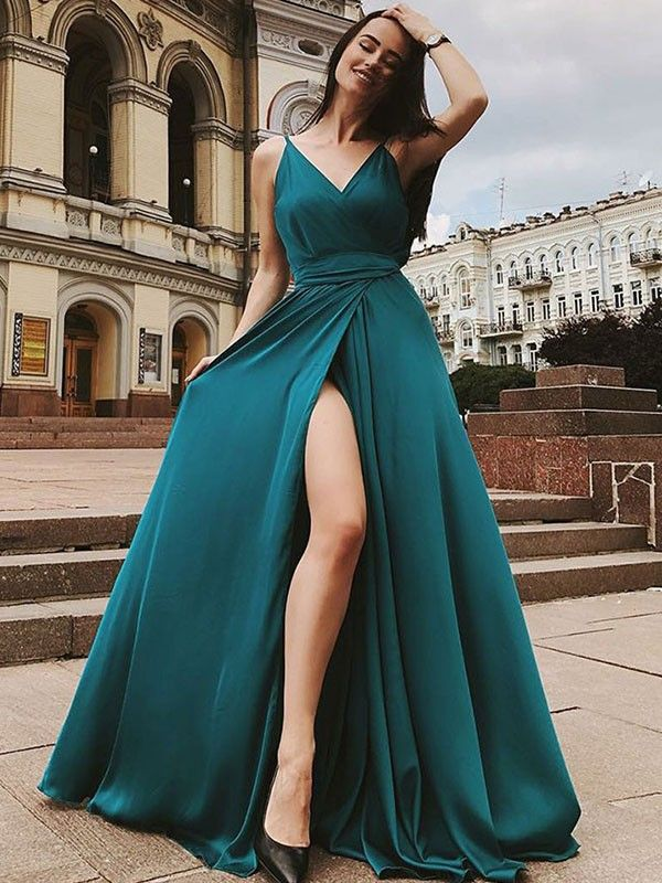 Sleeveless Dark Green Prom Dresses Simple