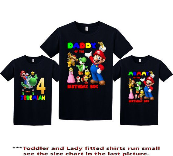 Family Birthday Shirts. Super Mario Bros Personalized Birthday Party Boy Shirt