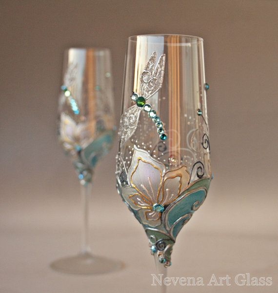 Wedding Glasses Champagne Flutes Wine Glasses by NevenaArtGlass