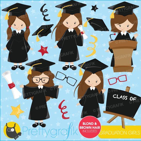 Graduation girls 1 clipart