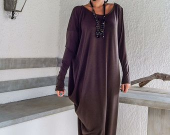 Dark Taupe Maxi Long Sleeve Dress / Dark Taupe by SynthiaCouture