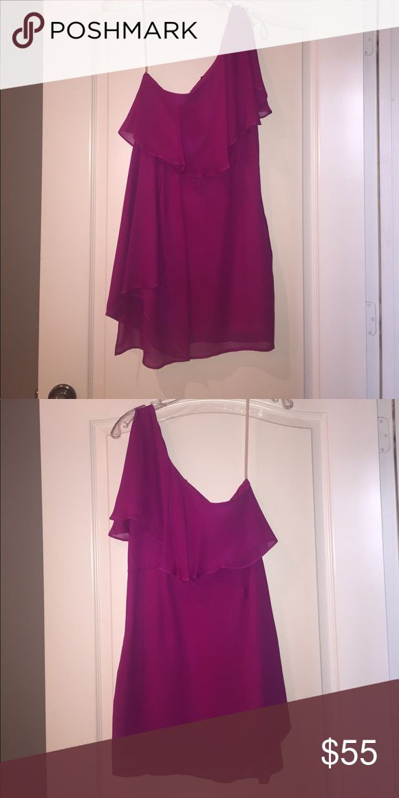 Magenta Central Park West Cocktail Dress Fun magenta Central Park West cocktail dress with ruffle detailing. Perfect for summer weddings and parties! Central Park West Dresses One Shoulder