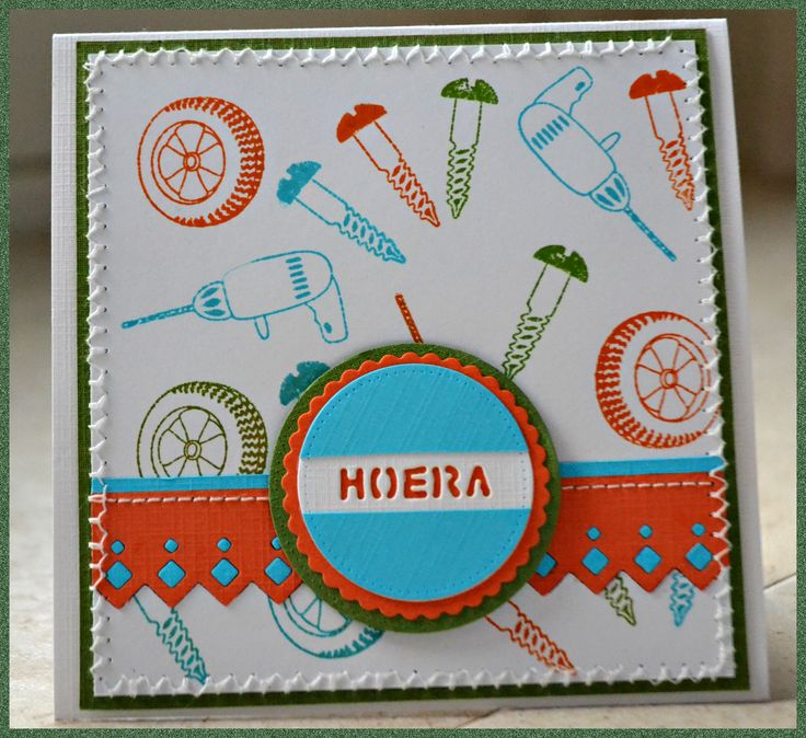 Card made by Aletta Heij. Leane Creatief Clearstamp 'tools', MFD019, SD026. All products available at snellencrafts.nl