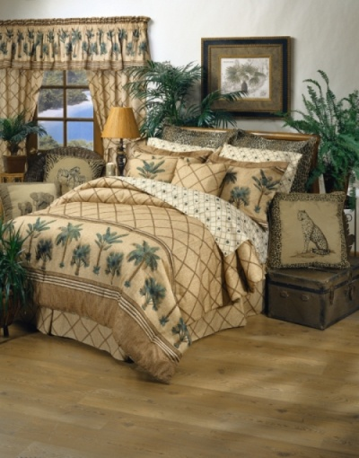 Kona Palm Tree Bedding - Slip into your own tropical paradise with the Kona bedding ensemble. Lush palm tree border print sets against a neutral ground of bamboo lattice and woven grass cloth print on 100% cotton duck adds to the visual texture in twin, full, queen and king size.