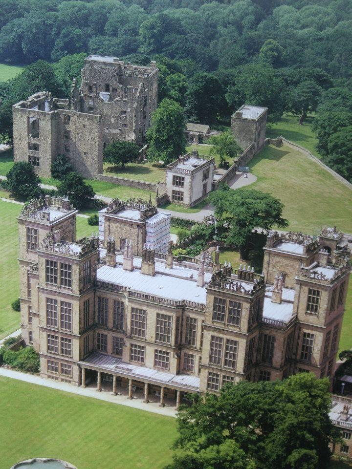 Hardwick Hall, Derbyshire showing the ruins of the old Hall. Bess built the new house in her 70's. She ran the old and new hall side by side, it is why the new house did not have to be that large.