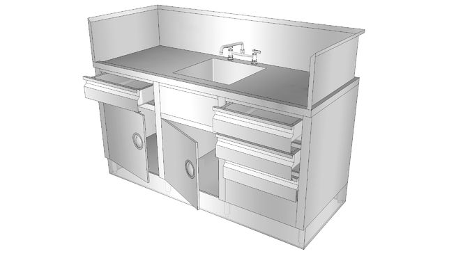 Large preview of 3D Model of Commercial Sink Counter