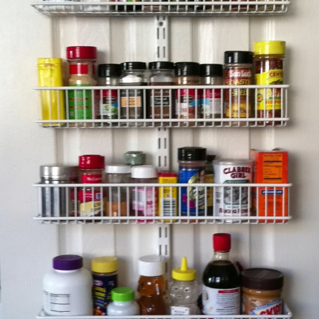 Container Store's Elfa Over Door System http://www.containerstore.com/shop/kitchen/pantryOrganizers/doorWallRacks?productId=10016912 - I love this rack. I've 9 bins hanging on my pantry door and it holds everything from my spices to my Zip-Locs!