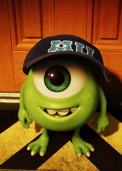 Young Mike Wazowski Monsters University Omg he's SO cute!!!! Look at his little hat and braces!!!! ADORABLE!!!!!