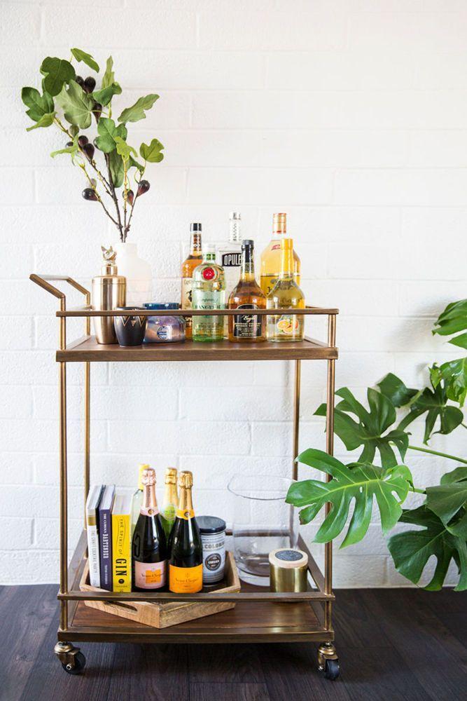 impress your friends with an organized bar cart