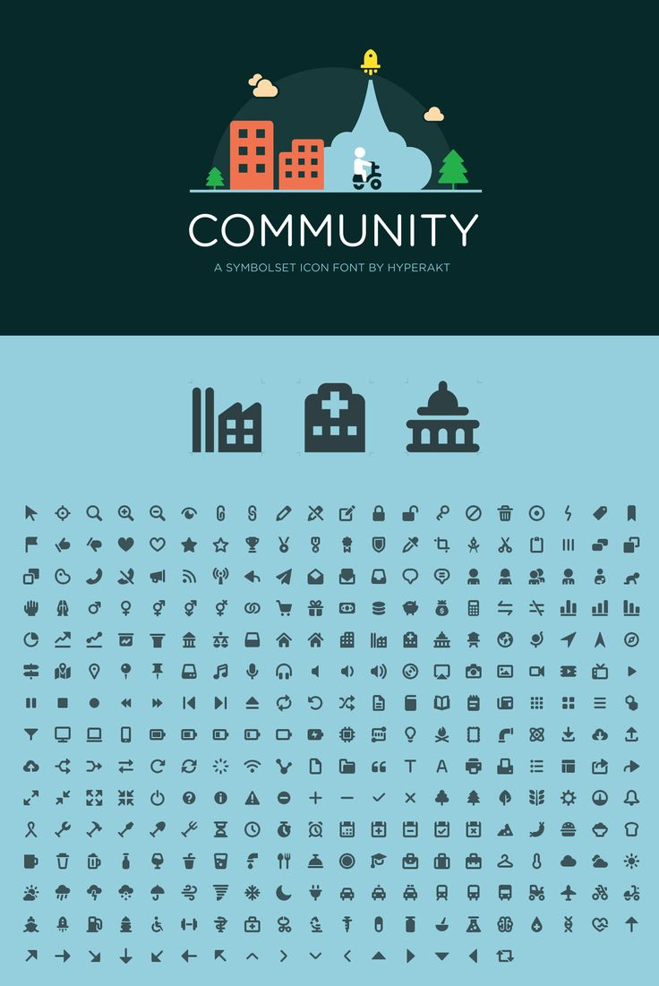 Community, designed by Hyperakt designer Wen Ping Huang is a civic-minded a SymbolSet icon font that covers topics of health, gender, transportation, and municipal structures. 296 icons included.  $30