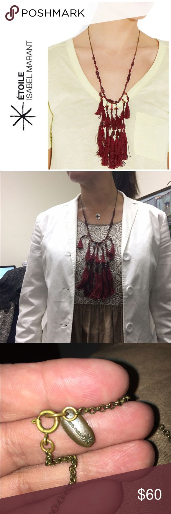 "Isabel Marant Etoile ""Cy & me"" tassel necklace Designer necklace by Etoile for Isabel Marant . Red threading on a brass chainlink necklace . In excellent condition . Just purchased last year for $198 at Neiman Marcus . Great necklace for the summer or fall. Will bundle for 10% off Isabel Marant Jewelry Necklaces"