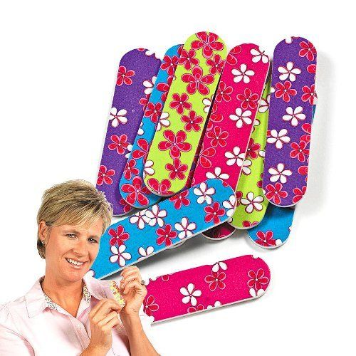 """Girlie Mini Emery Boards (1 dz) by Fun Express. $6.50. Assorted Colors; Emery Boards Measure 3""""; 1 Dozen Girlie Mini Emery Boards; Cardboard. Nothing is more fun than painting nails at a slumber party! Make your girl's job a little easy by adding these Girlie Mini Emery Boards to girl's slumber party goody bags."""