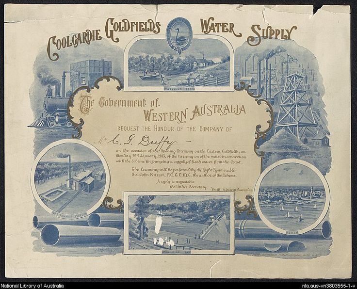 Coolgardie Goldfields Water Supply invitation to attend the opening ceremony of the Eastern Goldfields, 26 January, 1903