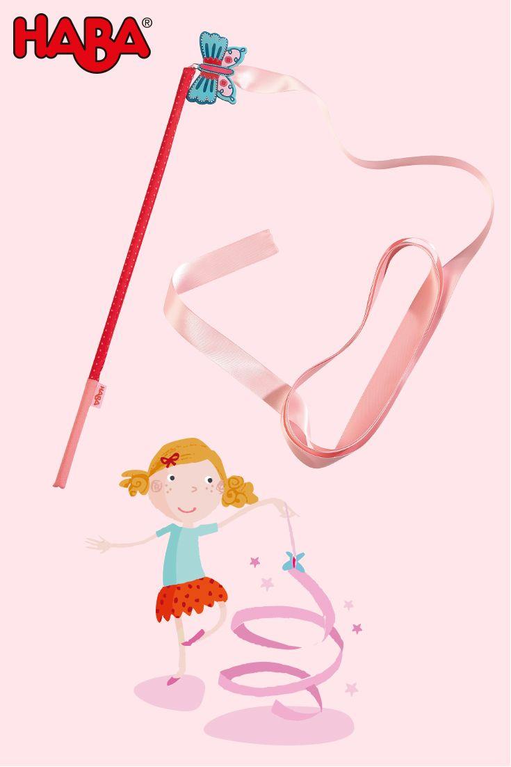 Perfekt für kleine Prinzessinnen, Ballerinen und Feen: Unser Schwungband Schmertterling flattert im Wind, zaubert lustige Figuren in die Luft und bewegt sich beim Tanzen und Turnen im Garten... oder bei schlechtem Wetter im Kinderzimmer. Artikelnummer: 300163