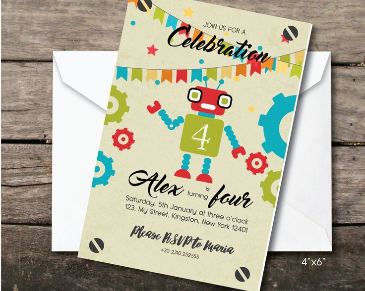 robot birthday party invitation, Printable and printed, fourth birthday boy, paper and party supplies, thank you card, robot party, craft by BeePrintDesigns on Etsy