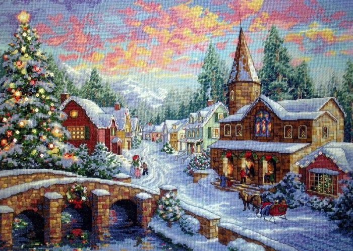 Вышивка рождественской картины ВЕСЕЛАЯ ДЕРЕВНЯ - http://blog.meta.ua/communities/zoloe-ki/posts/i4000459/