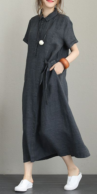 Vintage Loose Maxi Dresses Women 100% Linen Clothes Q1231