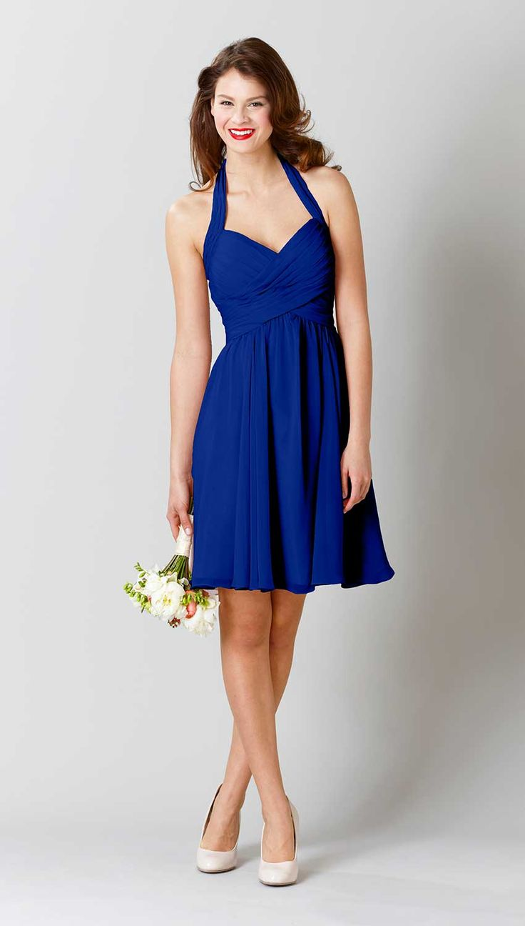 How stunning is this short, halter bridesmaid dress in Royal blue? | Kennedy Blue Lucy