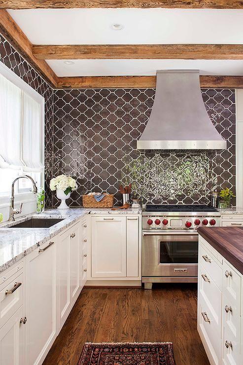 kitchen with brown moroccan tiles backsplash transitional kitchen
