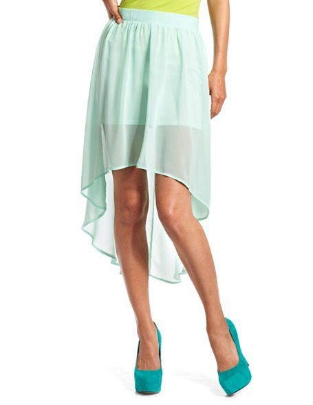 obsessed with the assymetrical maxi skirt, especially in mint! Hi-Low Textured Chiffon Skirt: Charlotte Russe
