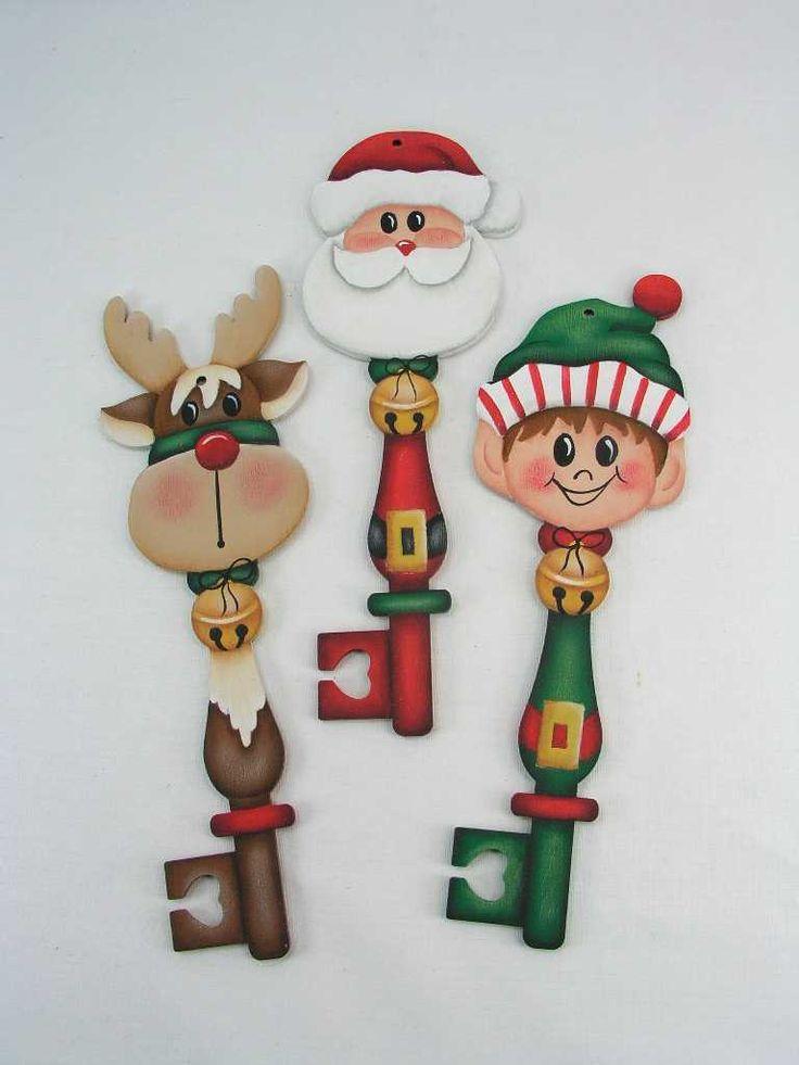 A Stroke of Jeanne-ius  - Santa and Friends Key  Ornaments  E-Pattern, $6.00 (http://www.astrokeofjeanneius.com/santa-and-friends-key-ornaments-e-pattern/)