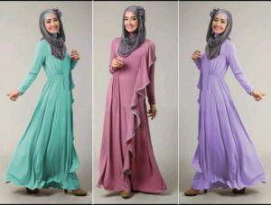 Jual Maxi Dress Muslimah S130 MAXI Side Ruffles dan Pashmina - http://gamisonline.com/jual-maxi-dress-muslimah-s130-maxi-side-ruffles-dan-pashmina.html