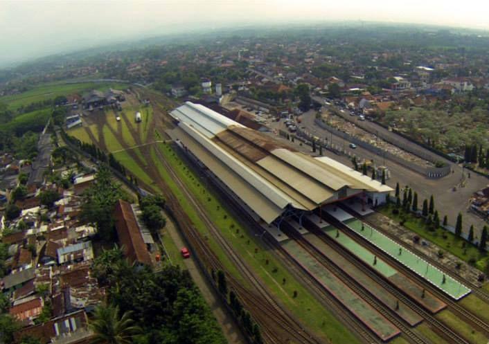 Stasiun Purwokerto dibidik lensa kamera Quadcopter.