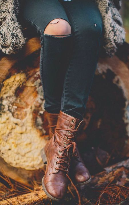 tumblr fashion • teen style • cute clothes • sweater weather • autumn fall • winter outfit • combat lace up boots • ripped jeans