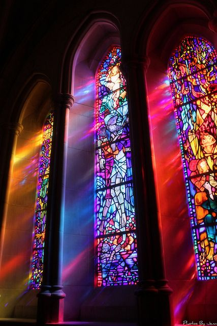 Stained glass window.