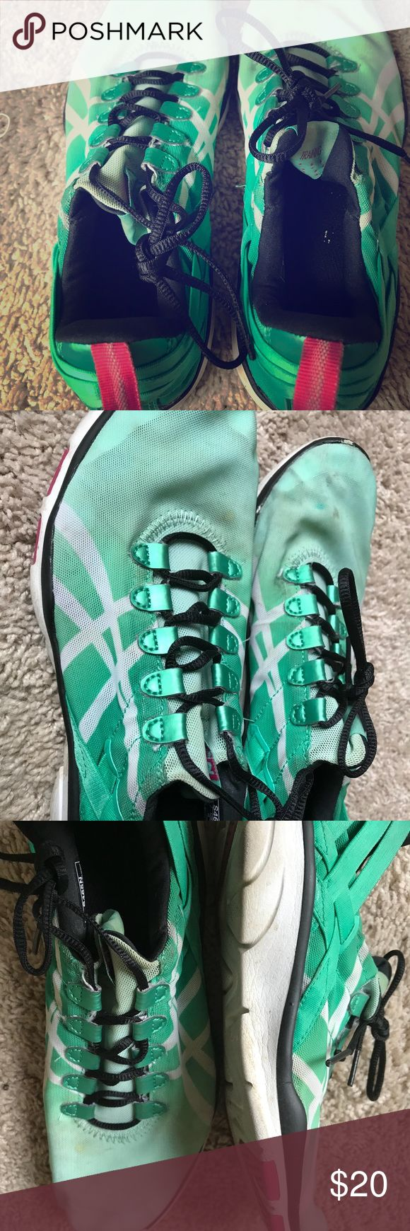 Turquoise Asics training shoe! Women size 8! Pretty worn, but still in excellent condition. Asics turquoise training shoe. Size 8 in women's. White ASICS signs on side. asics Shoes Athletic Shoes