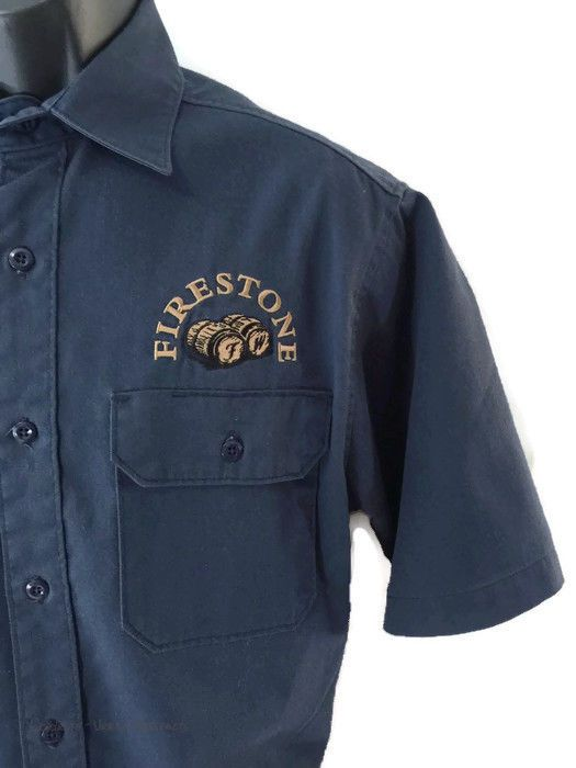 Firestone Walker Brewing Company Carhartt Work Shirt Embroidered Navy Medium