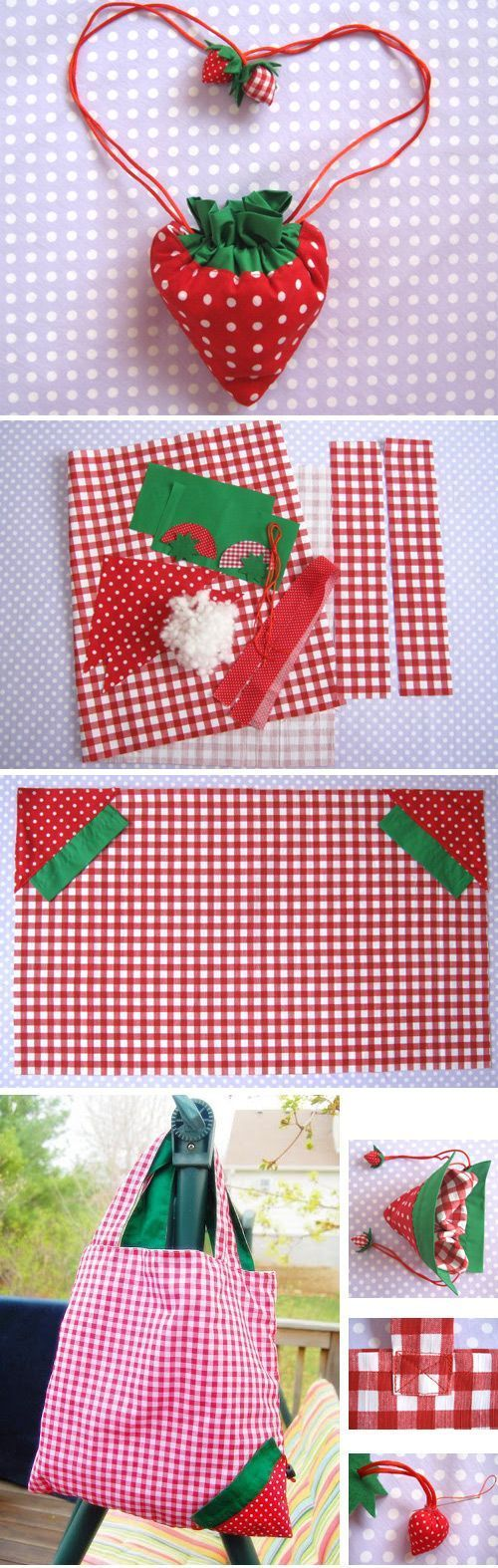 DIY Strawberry Shopper Bag Sewing Tutorial   If you love to make bags, check out http://www.sewinlove.com.au/tag/bags/ for more fun and easy sewing projects.
