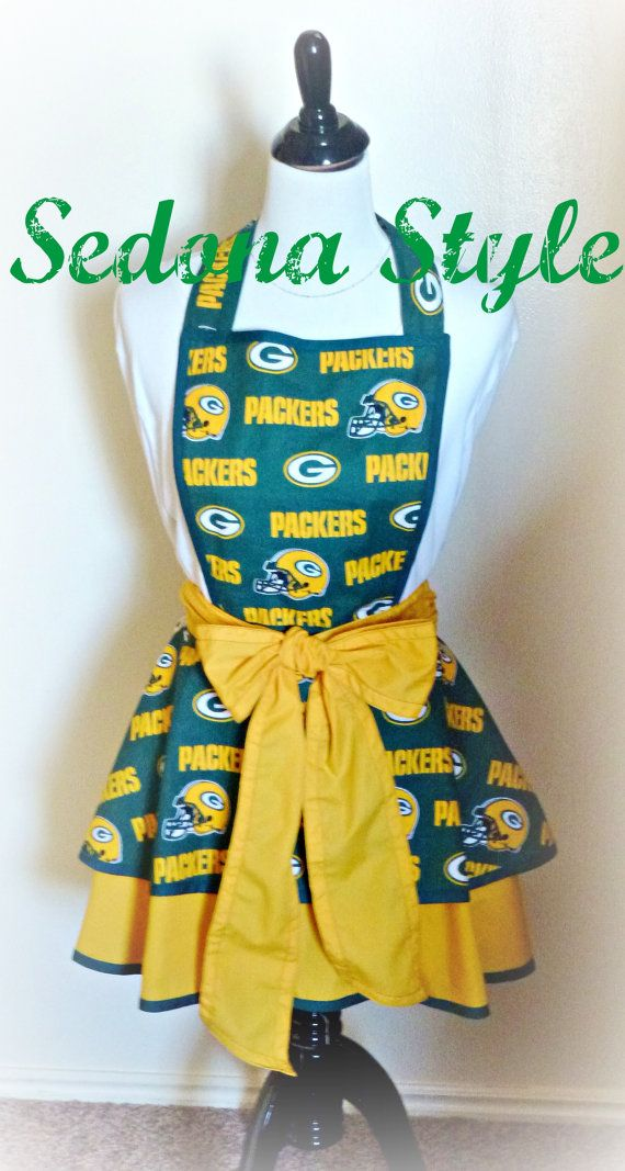 NFL Green Bay Packers womens flirty hostess team apron  ANY TEAM College team aprons
