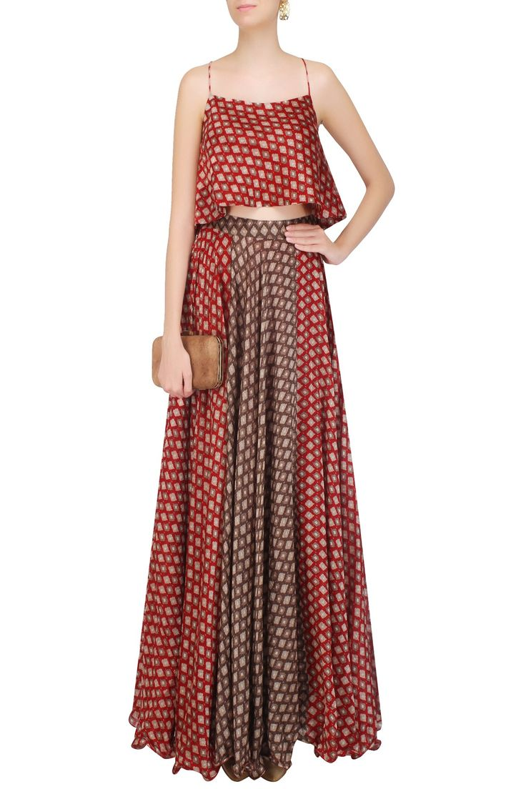 Red ikkat print bias flared top with red and brown skirt by PALLAVI JAIPUR…
