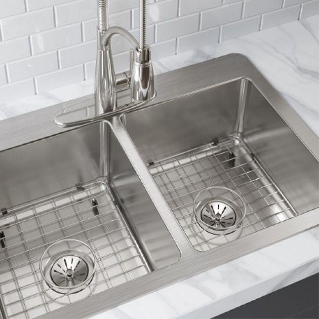 Elkay Avenue Drop In Undermount Stainless Steel 33 In 50 50 Double Bowl Kitchen Sink With Bottom Grid Hddbd33229tr3 The Home Depot Double Bowl Kitchen Sink Elkay Sink