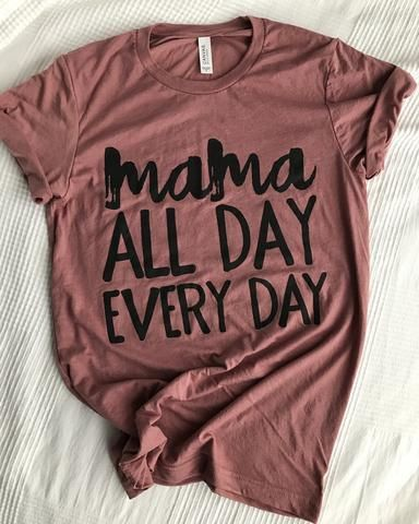 244ce8056 Mama All Day Every Day Maroon Marble + Metallic Rose Gold Ink V-Neck ...