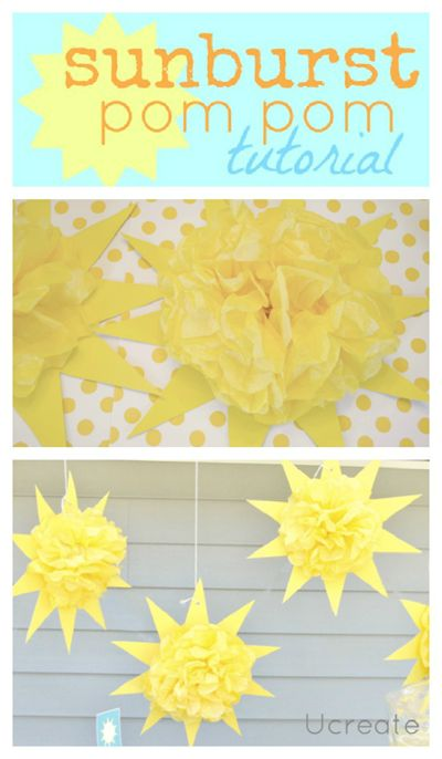 Sunshine Birthday Party...sunburst pom pom tutorial!