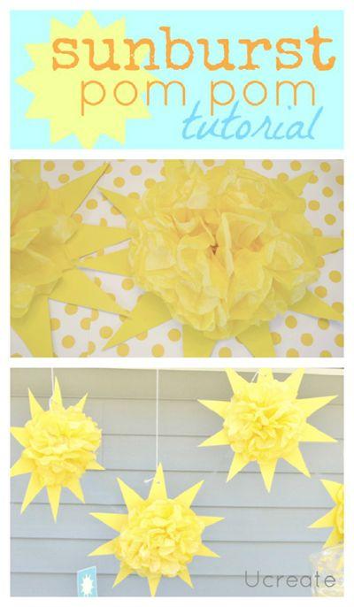 Sunshine Birthday Party...sunburst pom pom tutorial! ucreateparties.com