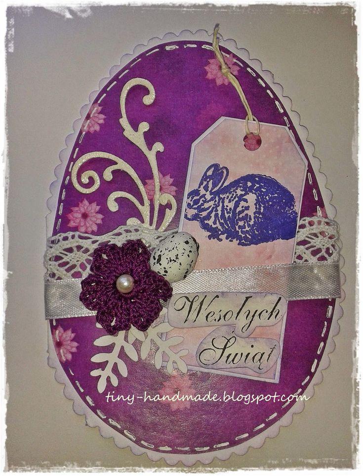 Kartka wielkanocna - z fioletowym królikiem