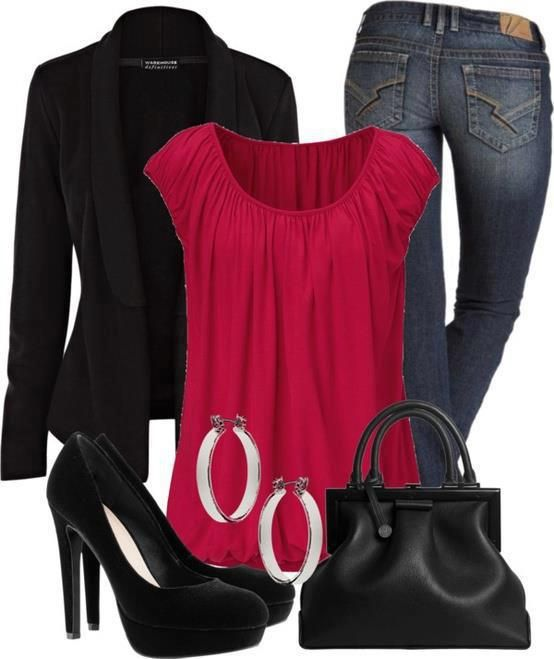 Very cute overall, like the classiness of the dark jeans and black jacket with the splash of color