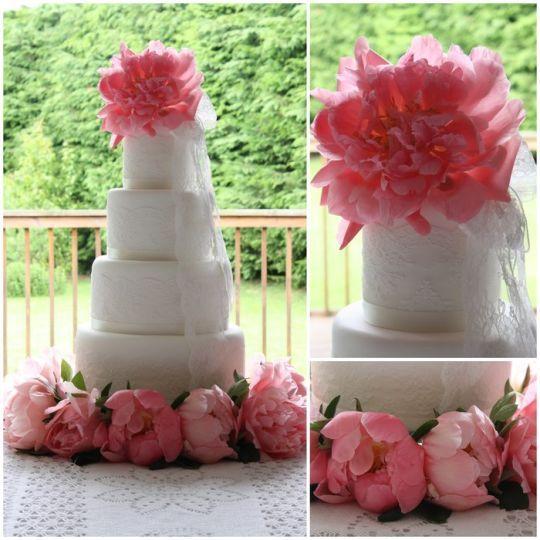 Pink Peonies& Lace Cake