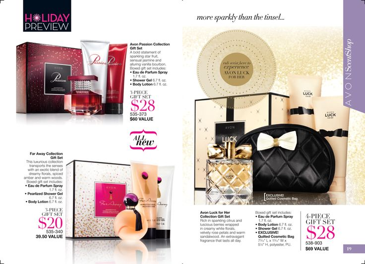 eBrochure | AVON  Great perfume deals! although I'm not a huge fan of ALL of Avon's perfumes, I bet you know someone (like grandma or Aunt Betty) who is!! what a great gift! www.youravon.com/rplattharendza