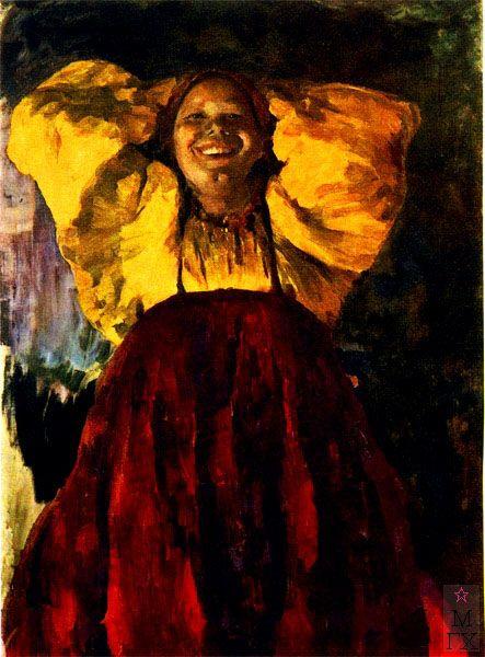 Баба в желтом. Малявин. 1903.  Women in yellow. P.Malyavin. 1903