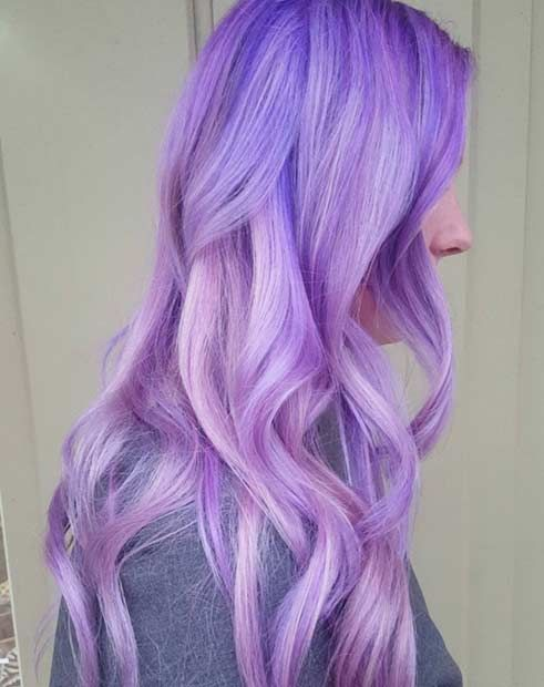 Vibrant and Shiny Lavender Hair