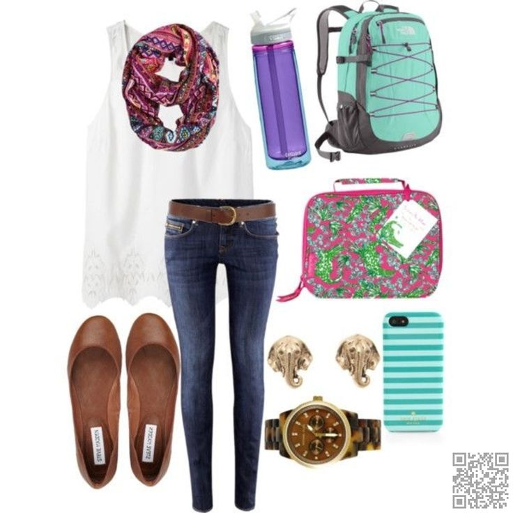 8. #White, Blue, and #Brown - Look Cute for Class with #These College #Outfit Ideas ... → #Fashion #Skirt