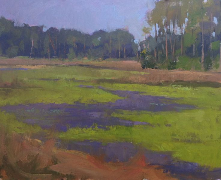 """Lavender Flats"" 16"" x 20"" Available, Beautiful mud flats, the color of lavender, painted on Indian Pass Drive in Florida's Forgotten Coast."