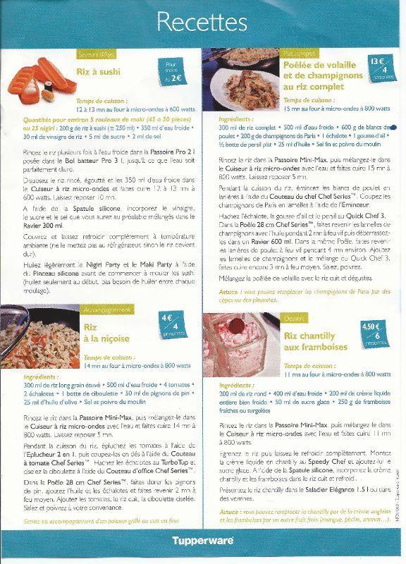 Riz à sushi - riz à la niçoise - poêlée de volaille et de champignons au riz complet - riz chantilly aux framboises - TUPPERWARE