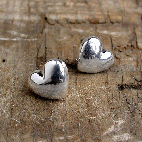 Silver plated heart stud earrings | eBay
