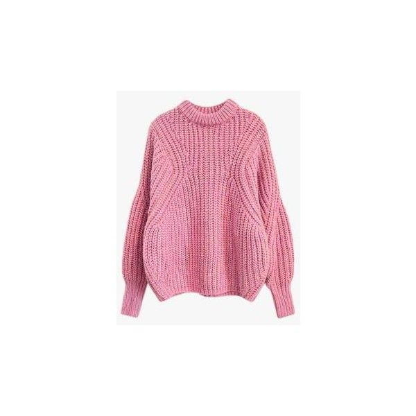 Oversized Crop Knit Sweater (64.310 CLP) ❤ liked on Polyvore featuring tops, sweaters, pink, cropped knit sweater, pink sweater, oversized tops, pink crop top and knit top